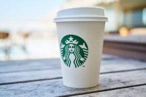 Starbucks cup with corporate branding
